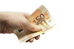 Stack of fifty euro banknotes isolated on the white background Stock Photo