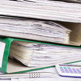 Stack of file folders with documents Stock Photo