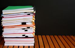 Stack of Files and Folders of Various Colors Royalty Free Stock Images