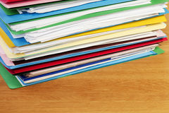 Stack of Files On Wood Surface Horizontal Stock Images