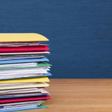 Stack of Files on Wood Surface Square Royalty Free Stock Photo