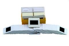 Stack of film photo slides on white background stock photos