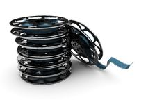 Stack of film reels. 3d illustration of film reels over white background Royalty Free Stock Photos