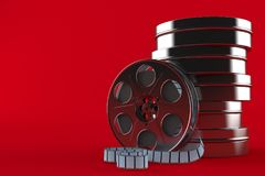 Stack of film reels. Isolated on red background Royalty Free Stock Photo
