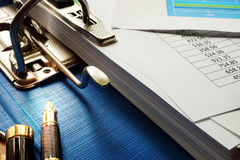 Stack of financial documents. Stock Image