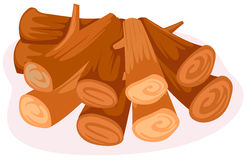 Stack of firewood. Illustration of isolated stack of firewoods on white background Royalty Free Stock Images