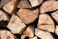 Stack of firewood. Closeup of pile of firewood arranged and ready for use Royalty Free Stock Photos