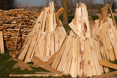 Stack of firewood. Pile of freshly cut and split firewiood Royalty Free Stock Image