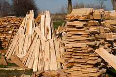 Stack of firewood. Pile of freshly cut and split firewiood Stock Photo