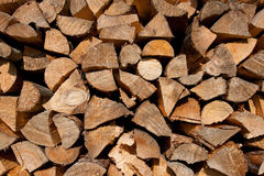 Stack of firewood. Freshly chopped and stacked firewood outdoor Royalty Free Stock Photos