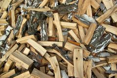 Stack of firewood. Stack of birch firewood background texture Stock Image