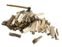 Stack of firewood with an axe Royalty Free Stock Image