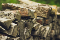 A stack of firewood close up Royalty Free Stock Photos