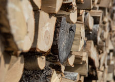 Stack of firewood. Close up photo of stack of firewood stock photo