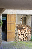 Stack of firewood. A stack of firewood before entering the house Royalty Free Stock Photography