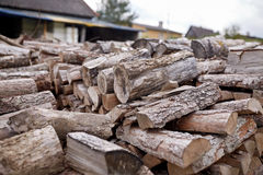 Stack of firewood on farm at country Royalty Free Stock Photography