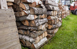 Stack of firewood on farm at country Royalty Free Stock Photo