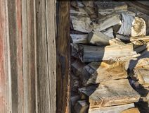 Wood Pile in a Barn Stock Image