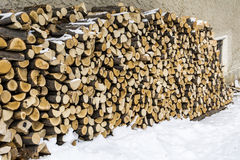 Stack of firewood in  the snow. Renewable resource of a energy. Environmental concept.Close-up of a stack of firewood Royalty Free Stock Photos