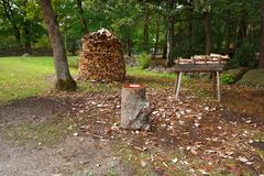 Stack of firewood. In village, rural scene Royalty Free Stock Photos