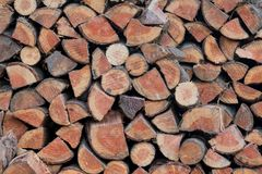 Stack of Firewood. To fuel an indoor fireplace stock photography