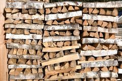 Stack of firewood. At the wall of the house royalty free stock images