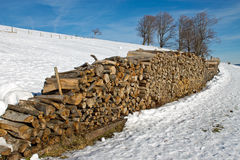 Stack of firewood in Winter Stock Photography