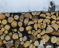 Stack of firewood in winter with snow Royalty Free Stock Photo