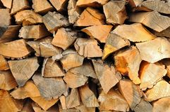 Stack of firewoods prepared for winter. Stack of chopped firewoods prepared for winter Royalty Free Stock Image