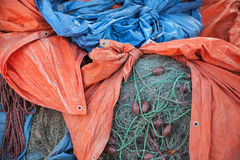 Stack of fishing nets Royalty Free Stock Image