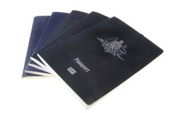 130405-9. Stack of five Australian passports isolated on white background Royalty Free Stock Photography