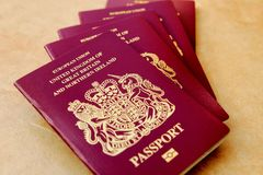 Stack of five British United Kingdom European Union Biometric pa. Ssports Stock Image