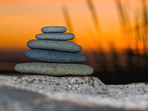Stack of Five Flat Rocks Royalty Free Stock Photos