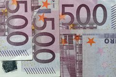 Stack of five hundred Euro banknotes royalty free stock images