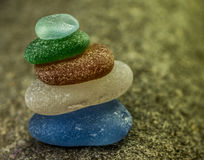 Stack of Five Sea Glass Pebbles Royalty Free Stock Image