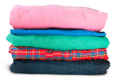 Stack Of Five Types Of Clothes Stock Photos