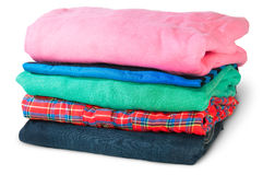 Stack Of Five Types Of Clothes Rotated Royalty Free Stock Photo