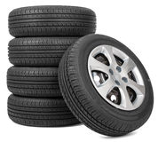 Stack of five wheels Royalty Free Stock Photos