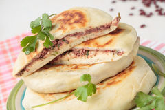 Stack of flat bread with red beans Royalty Free Stock Photography