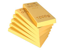 Stack of Flat Golden Bars isolated on white background Stock Images