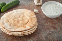 A stack of flat pita breads Stock Photos