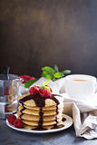Stack of fluffy buttermilk pancakes Royalty Free Stock Photography