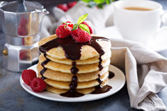 Stack of fluffy buttermilk pancakes Royalty Free Stock Image