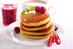 Stack of fluffy pancakes Royalty Free Stock Photos