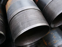 Stack of flush joint connection oil well casing Royalty Free Stock Image