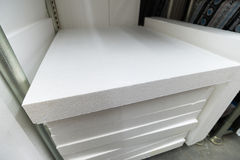 stack of foam plastic for insulation stock photography