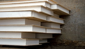 Stack of foam plastic for insulation Royalty Free Stock Images