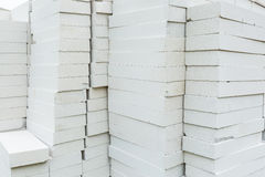 Stack of foamed concrete blocks Royalty Free Stock Photo