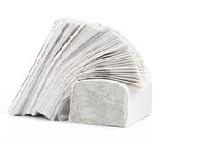 Stack of folded disposable papers. Stock Photo