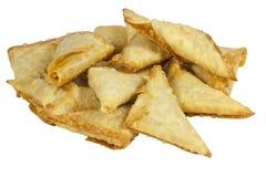 Stack of Folded and Freshly Fried Samoosas Royalty Free Stock Images
